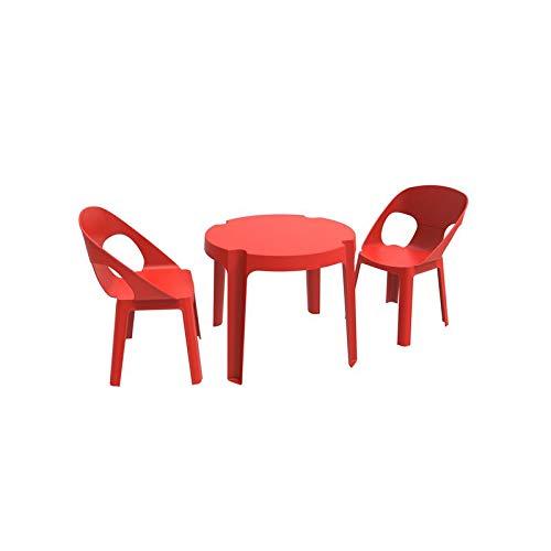 resol Rita set infantil de 2 sillas y 1 mesa para interior, exterior, jardín - color rojo