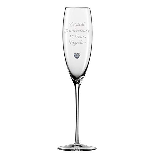 Chichi Gifts Séba Cadeaux 2 Cristal Anniversaire 15 Ans l'Paire de flûtes à Champagne avec Coeur de Cristal Gem