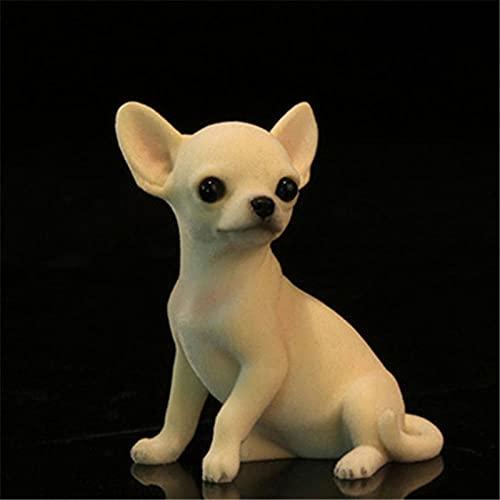DXZQ Ornaments Garden Animal Sculptures Mini Chihuahua Dog Simulation Resin Dog Model Car Decoration Small Decoration