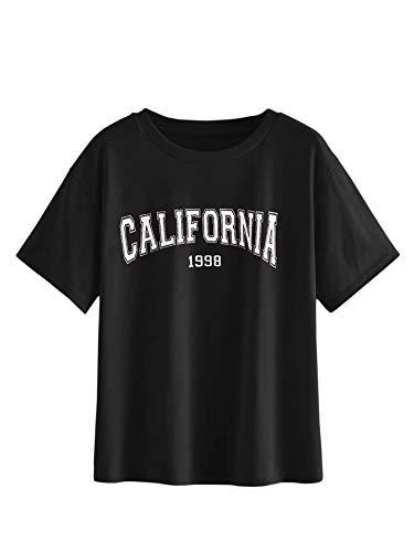 MakeMeChic Women's Graphic Letter Print Tee Round Neck Short Sleeve T Shirt Tops Black Medium