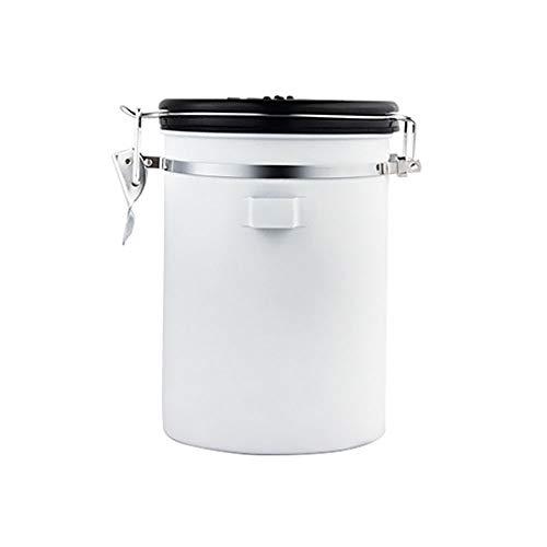 CNTJMJY - Barattolo in silicone con anello in acciaio inox con cucchiaio/scarico ermetico, trasparente, per alimenti e cereali, Acciaio inossidabile, bianco, 190X128mm