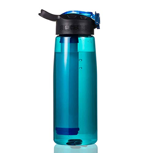 DoBrass Filtered Water Bottle for Travel, Camping, Hiking, Outdoor and Daily Use, Water Bottle with Filter, BPA Free and Leakproof - Sea Glass