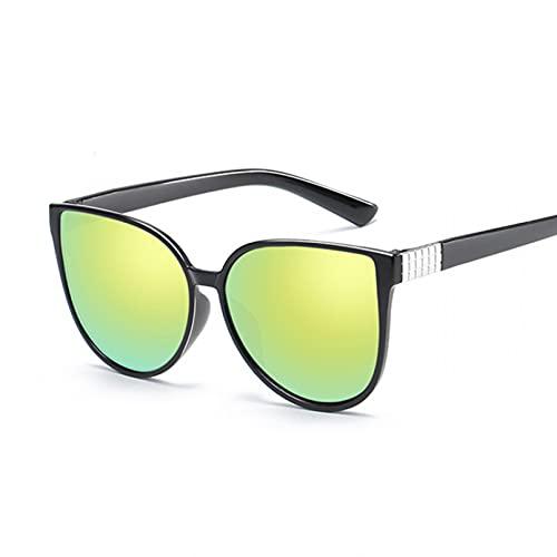 Tanxianlu Gafas De Sol Ojo De Gato, Gafas De Mujer, Gafas De Sol De Metal Retro De Lujo para Mujer, Espejos Vintage para Mujer, Oculos De Sol Femenino Uv400,Gold