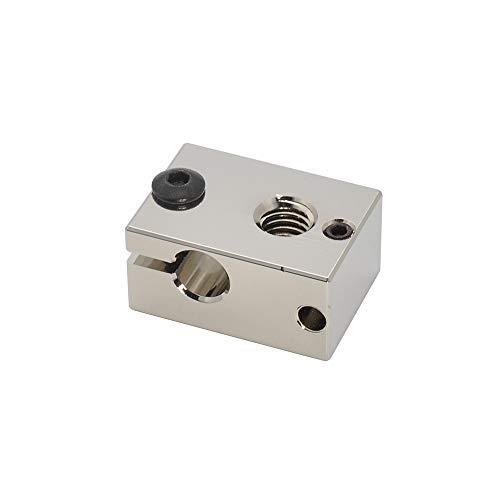 3D Printer High Temperature Plated Copper Heater Block for PT100 Cartridge Sensor Version V6 Hotend Titan Aero Extruder (Copper)