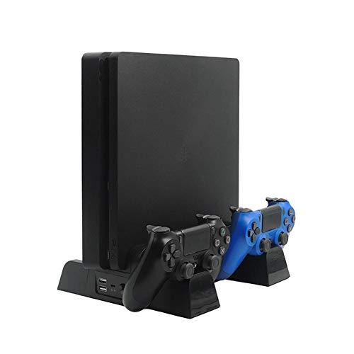 Waroomss - Soporte Vertical con Ventilador de refrigeración y Cargador de Controlador para PS4 Slim Pro, estación de Carga para Controlador Doble PS4, con Almacenamiento de Juegos de 13 Unidades