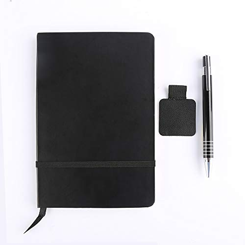 Hardcover Notebook Ruled Classic Journals 7.3x5 Inch with Pen Holder Loop and Ballpoint Pen Set - Black