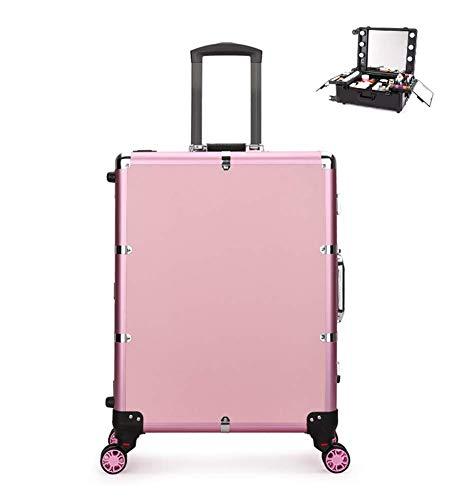 Mallette Maquillage Trolley Beauty Case Voyage Valise Studio Table De Maquillage Pliable Artiste Cosmétique Avec 5W*6 Ampoules + 4 Roues 360° 45X23x60cm,Pink2