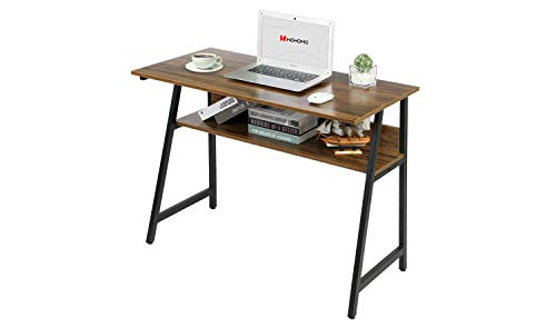 WOHOMO Computer Desk with Shelf, Modern Industrial Writing Desk with Bookshelf for Home Office, Sturdy Metal Frame, Easy Assembly, Rustic Walnut