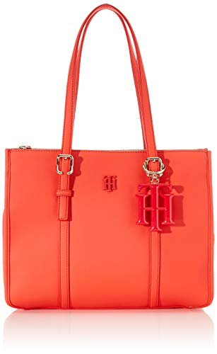 Tommy Hilfiger Damen Th Chic Small Satchel Tornistertasche, Orange (Bright Vermillion), 1x1x1 cm