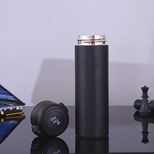 Jusemao Botella de agua aislada de acero inoxidable con pantalla led de temperatura de rebote tapa botella de agua 500ml-negro_500ml