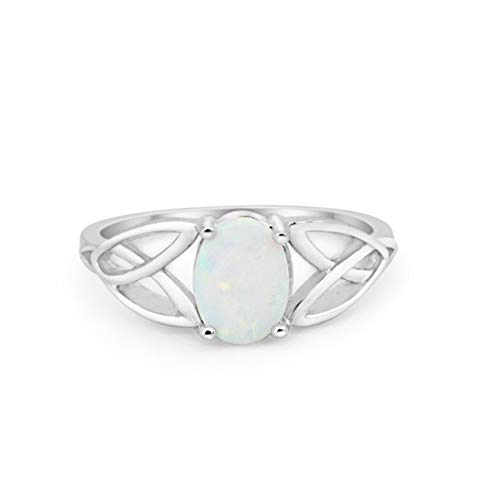Blue Apple Co. Solitaire Celtic Split Shank Engagement Ring Oval Cut Created White Opal 925 Sterling Silver, Size - 10