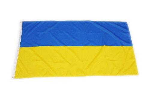 Qualitäts Fahne Flagge Ukraine 90 x 150 cm mit verstärktem Hissband