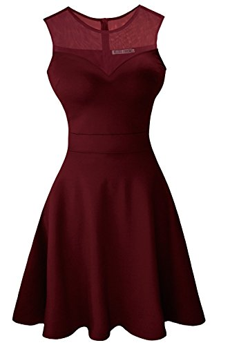 Sylvestidoso Women's A-Line Sleeveless Pleated Little Wine Red Cocktail Party Dress (L, Wine Red)