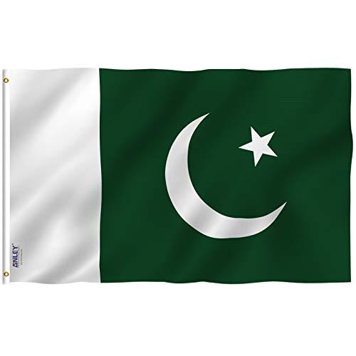 ANLEY Fly Breeze 3x5 Foot (90x150 cm) Pakistaanse vlag - Levendige kleuren en UV-bestendig - Canvaskop en dubbel gestikt - Vlaggen van de Islamitische Republiek Pakistan Polyester met koperen doorvoertules 3 x 5 voet