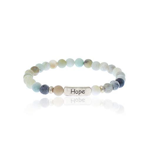 Christian Bracelets for Women – Hope Bracelet – Natural Stone Stretch Prayer Bracelet – Inspirational Message Jewelry - Great Gift (Light-Multi Turquoise)