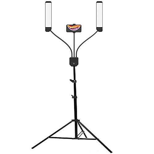 Tbaobei-Baby Anillo de luz LED para selfie, maquillaje, fotografía, estudio de fotografía, con 200 cm, trípode, tiras de LED largas, soporte LED para el teléfono, para maquillaje, regulable