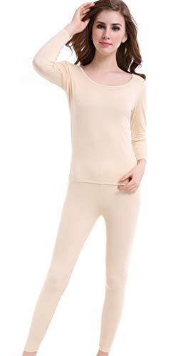 Invierno Elástico Cuello Redondeado Conjuntos Ropa Interior Térmica para Mujer