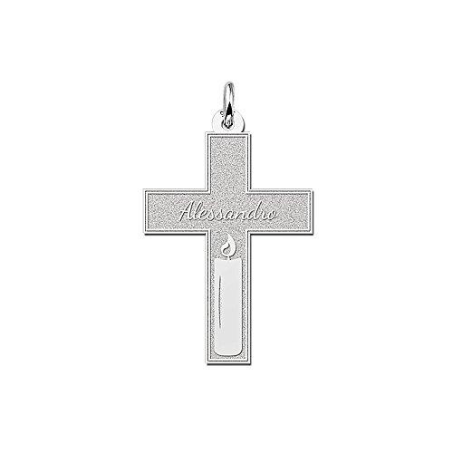 Namesforever Communie kruis hanger | Motief kaars | met uw naam gravure | 925 sterling zilver
