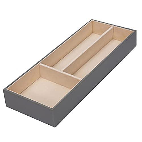 Caja de almacenamiento grande organizador de cajón, cuero y terciopelo, organizador para anillos, pendientes, collares, pulseras, relojes, gafas, cosméticos