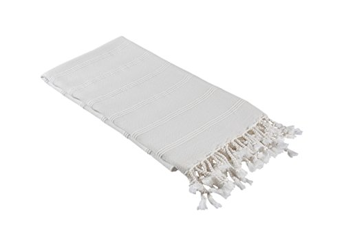 Stonewashed Turkish Towel Extra Large - InfuseZen Thin Bath Towel, Beach Towel and Pool Towel, Large Cotton Stone Washed Peshtemal Towels Weaved in Turkey, Hammam Spa Towel (Almost White)