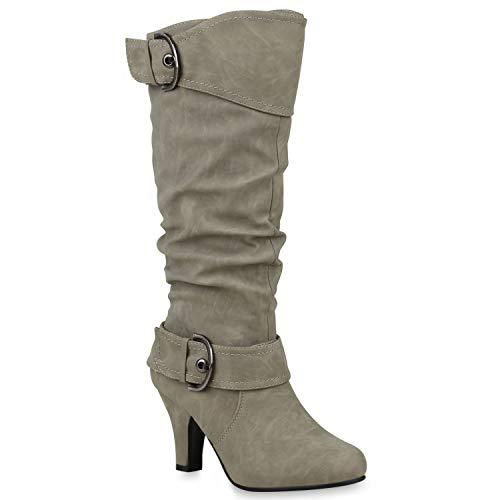 Warm Gefütterte Stiefel Damen Winter Boots Elegante Schnallen Trichterabsatz Wildleder-Optik Booties 42739 Hellgrau 38 Flandell