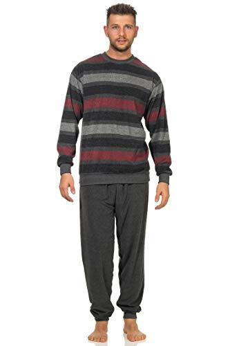 Herren Frottee Pyjama lang Schlafanzug mit Bündchen, auch in Übergrößen - 202 101 93 235, Farbe:rot, Größe:52