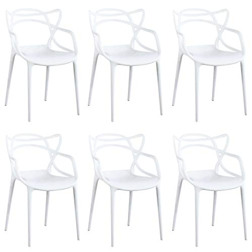 Milani Home s.r.l.s. Set di 6 Sedia in Polipropilene Plastica Bianca di Alta qualità di Design per Interno E Giardino Stile Moderno per Sala da Pranzo, Cucina