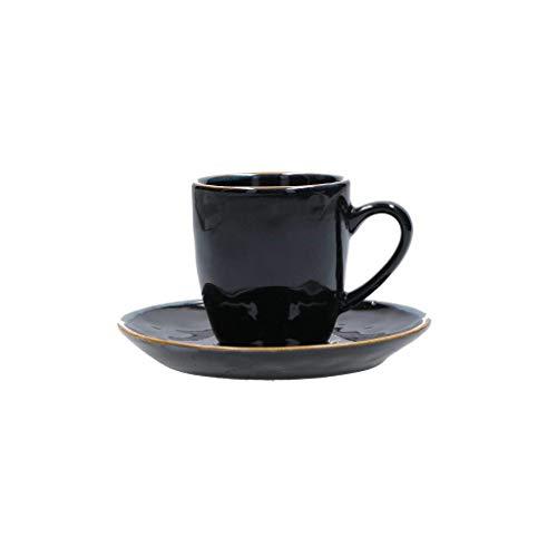 2 teiliges Set CONCERTO NERO Espressotasse mit Untertasse Schwarz Espresso Tasse italienisch Steinzeug mediterraner Italien Retro Stil (1 Set bestehend aus einer Tasse und einer Untertasse)