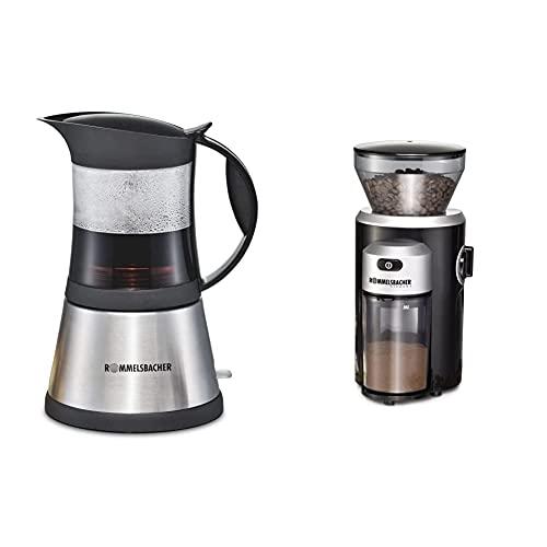 ROMMELSBACHER Espresso Kocher EKO 376/G - hitzebeständige Glaskanne, Filtereinsatz für 3 oder 6 Tassen Espresso & Kaffeemühle EKM 300 - Kegelmahlwerk aus Edelstahl, Mahlgrad in 12 Stufen