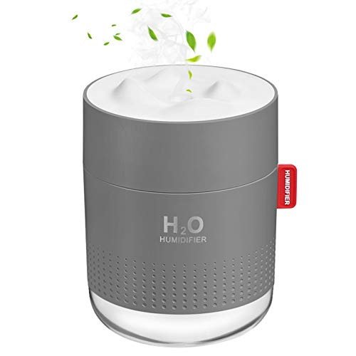 Portable Mini Humidifier, 500ml Small Cool Mist Humidifier, USB Personal Desktop Humidifier for Baby Bedroom Travel Office Home, Auto Shut-Off, 2 Mist Modes, Super Quiet, Gray