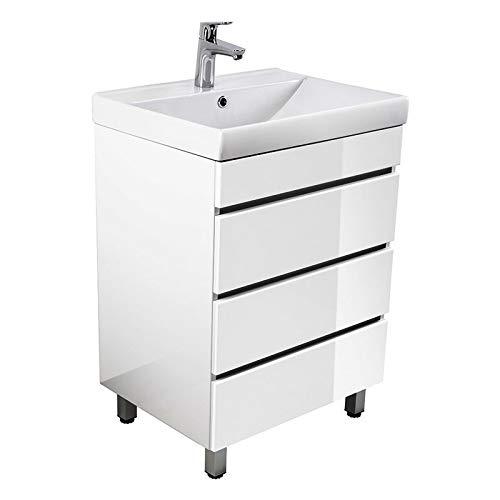 Lomadox Badmöbel Stand-Waschtisch mit Unterschrank in Hochglanz weiß 60cm Waschbecken