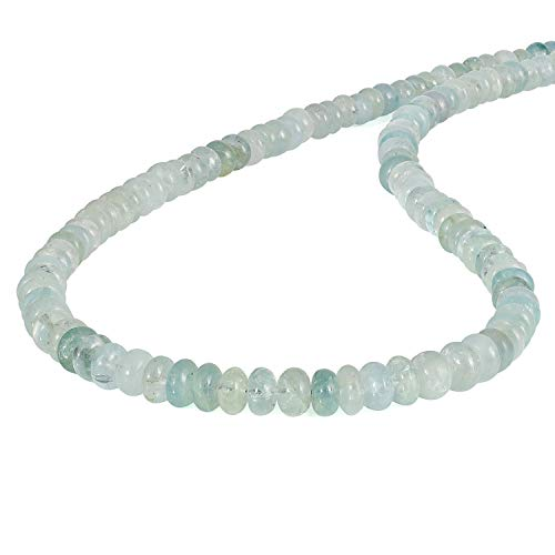 Collar de aguamarina azul para regalos de cumpleaños - Joyas con piedras preciosas naturales Perlas lisas Rondelle Plata de ley 925 Collares semipreciosos de 45 cm para mujer, el aniversario