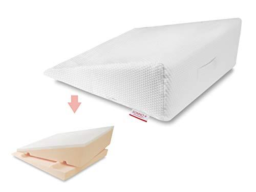 Cuña antirreflujo 2 en 1 con Espuma viscoelástica, espesor ajustable 18 o 24 cm, Almohadas de cuña para cama 70 x 70 x 24/18 cm