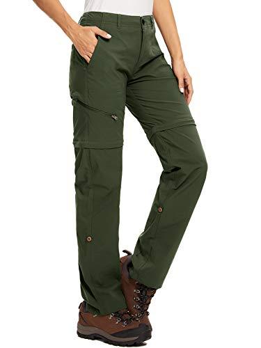 Pantaloni da trekking da donna, traspiranti, traspiranti, ad asciugatura rapida, per attività all'aperto, rimovibili, funzionali, elasticizzati, estivi, Donna, verde militare, 26