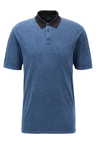 Photo of BOSS Mens PWash Relaxed-fit Polo Shirt with Acid-wash Finish Dark Blue