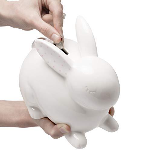 Pearhead Ceramic Bunny Coin Bank, Nursery Décor, Keepsake, or Savings Toy Bank for Kids, White