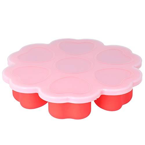 Eiswürfelschale Wiederverwendbare Lebensmittelform - Rote wiederverwendbare herzförmige Silikon-Eisform Gefrierschale Baby-Ergänzungsfutterbox mit Deckel