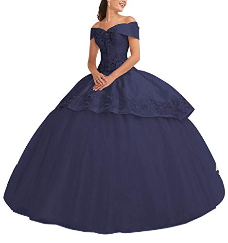 Off Shoulde Floor Length Long Ball Gown Sweetheart Bodice Strapless Navy Blue Size 8