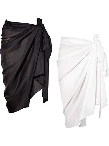 2 Pièces Wrap de Plage de Femmes Sarong Couverture de Bikini Jupes Wrap pour Maillot de Bain en Mousseline (Noir et Blanc, Long A)