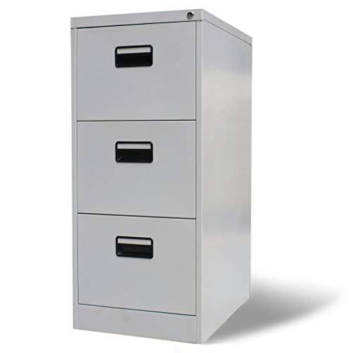 SOULONG archivador con cierre de 3 cajones, archivador con rodamientos de bolas, papel de metal de acero para decoración de oficina, color gris 102,5 x 62 x 45,5 cm