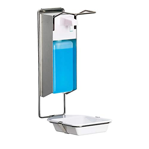 Desinfektionsspender mit Tropfschale für Wandmontage - 1000 ml, Edelstahl und Alu | Desinfektionsmittelspender, Wandspender, Seifenspender, Handdesinfektion, hängend