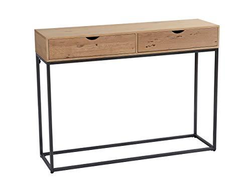 LC Home Konsolentisch Sideboard Wandtisch 100 x 28 x 75 cm mit 2 Schubladen Holz Metal