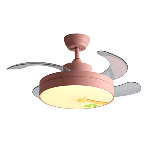 Ventilateur de Plafond pièce Lumineuse Ventilateur de Plafond Invisible lumière Salon éclairage Restaurant Ventilateur Lustre (Color : Pink, Size : 90 * 90 * 20cm(35.4 * 35.4 * 7.8 in))