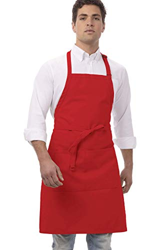 Chef Works unisex adult Butcher Apron apparel accessories, Red, 34-Inch Length by 24-Inch Width US