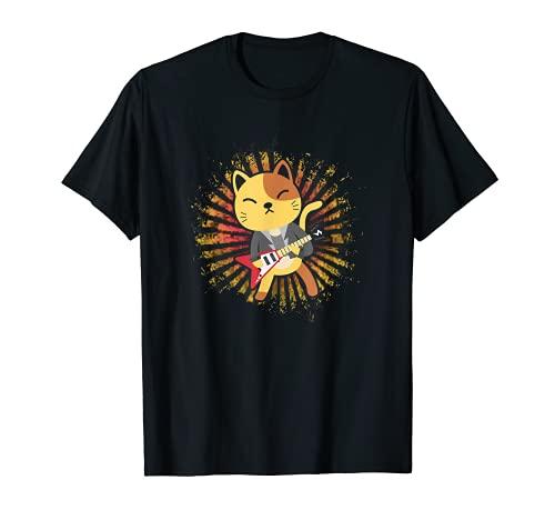Lindo Kawaii anime gato tocando guitarra eléctrica Camiseta