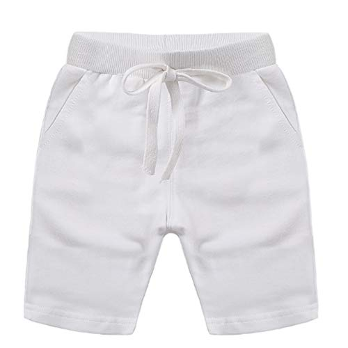 Ding Dong Baby Toddler Kid Boy Summer Solid Cotton Shorts(White,2T)