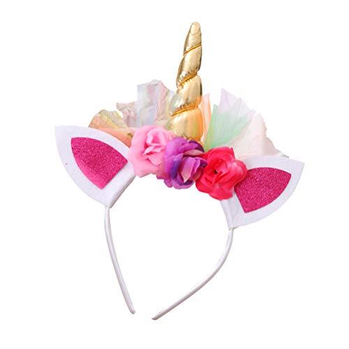BESTOYARD 3 STKS Meisje Eenhoorn Hoorn Hoofdbanden Bloem Haarband Headdress voor Cosplay Kostuum Party (Gouden)