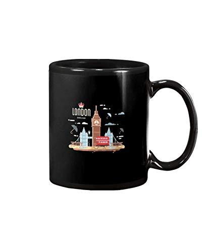 N\A Londres Inglaterra Reino Unido Big Ben británico Autobús de Londres Expatmug para café, Sopa, té, Leche, Tazas con Leche Taza Amigos, fanáticos, Esposa, Esposo, papá, mamá. Tazas 11Oz Bl