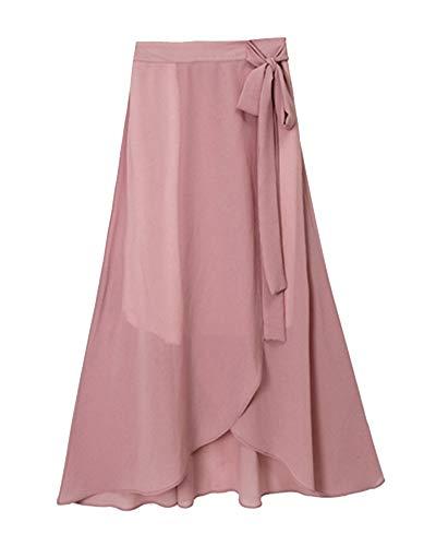 Mujer Slim Fit Falda Acampanada Larga Cinturón Color Só