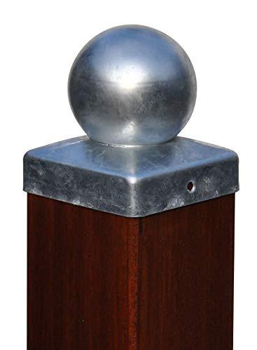 Pfostenkappe feuerverzinkt mit Kugel für Pfosten 12x12 cm, inkl. VA-Schrauben Zaunkappe verzinkt DD